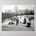 Sledding in Central Park, 1906. Vintage Photo Poster