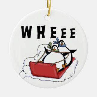 Sledding Penguins  Holiday  Ornament