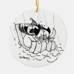 Sledding Pugs Christmas Ornaments