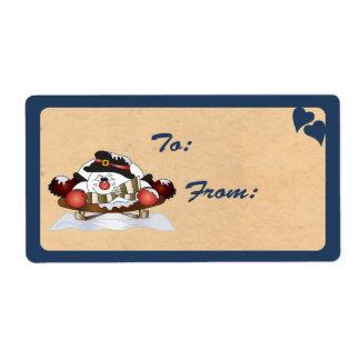 Sledding Snowman Gift Tag Label