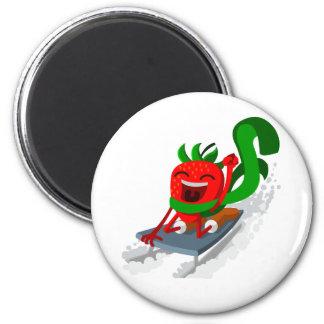 Sledding Strawberry 2 Inch Round Magnet