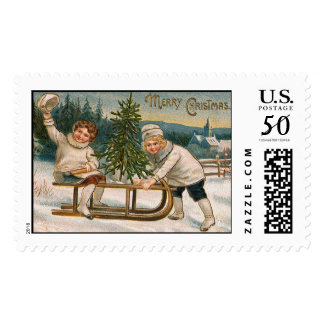 Sledding Vintage Christmas Stamps