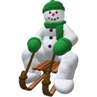 Sledding Vintage Snowman Cutout