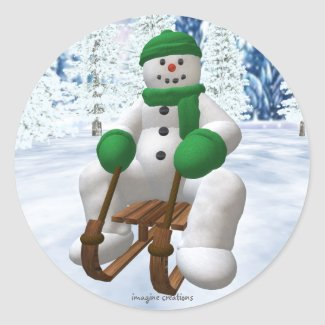 Sledding Snowman