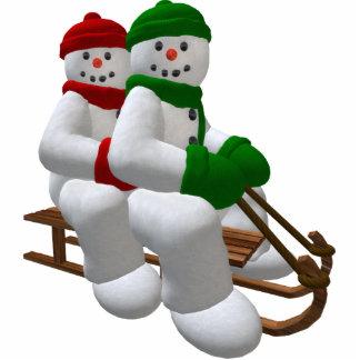 Sledding Vintage Snowmen Cutout