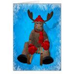 Sledding Whimsical Reindeer Greeting Card