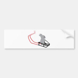 sledge bunny car bumper sticker