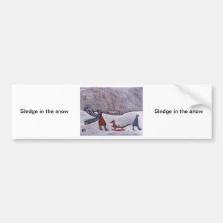 Sledge in the snow car bumper sticker