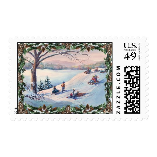 SLEDS, KIDS, SNOW & BOUGHS by SHARON SHARPE Postage
