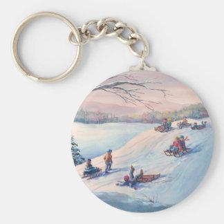 SLEDS, KIDS & SNOW by SHARON SHARPE Basic Round Button Keychain