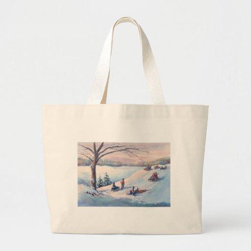 SLEDS, KIDS & SNOW by SHARON SHARPE Canvas Bag