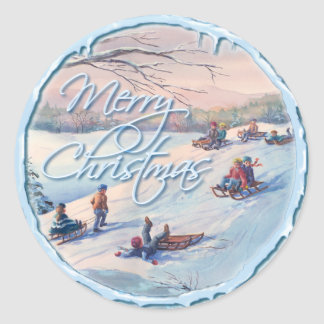 SLEDS, KIDS & SNOW by SHARON SHARPE Classic Round Sticker