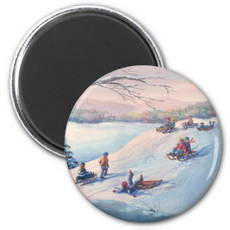 SLEDS, KIDS & SNOW by SHARON SHARPE Magnet