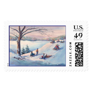 SLEDS, KIDS & SNOW by SHARON SHARPE Postage Stamp