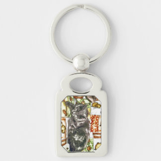 Sleeing Chartreux Silver-Colored Rectangular Metal Keychain