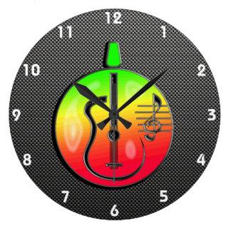 Sleek Acoustic Guitar Round Wall Clocks