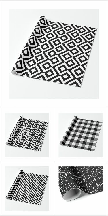 Sleek Black and White Wrapping Paper