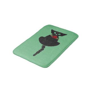 Sleek Black Cat Bathroom Mat