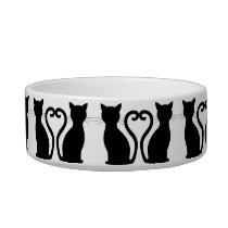 Sleek Black Cat Silhouette Bowl