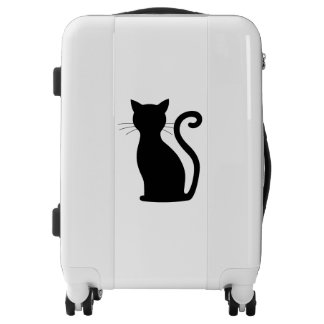 Sleek Black Cat Silhouette White Luggage Suit Case