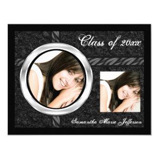 "Sleek Black/Chrome Frame Graduation Announcement 4.25"" X 5.5"" Invitation Card"