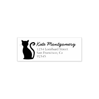 Sleek Black Kitty Cat Return Address Rubber Stamp