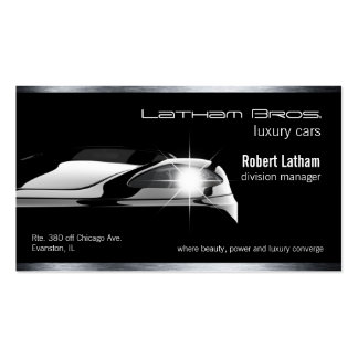 sleek black luxury car business car Double-Sided standard business cards (Pack of 100)