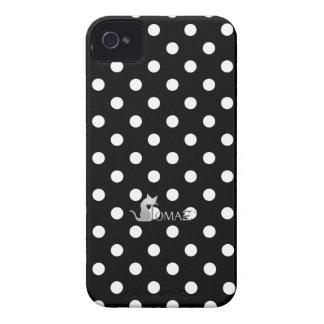 Sleek Black Polka Dots iPhone 4 Case-Mate Case