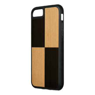 Sleek Black Rectangles on Cherry Wood Carved iPhone 7 Case