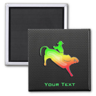 Sleek Bull Rider 2 Inch Square Magnet
