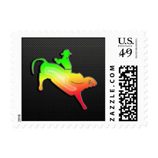 Sleek Bull Rider Postage Stamp