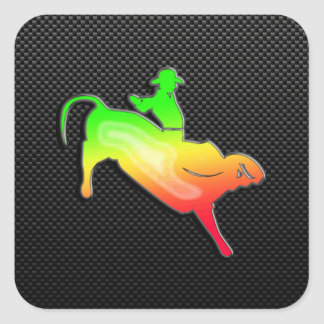Sleek Bull Rider Square Sticker