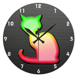 Sleek Cat Round Clock