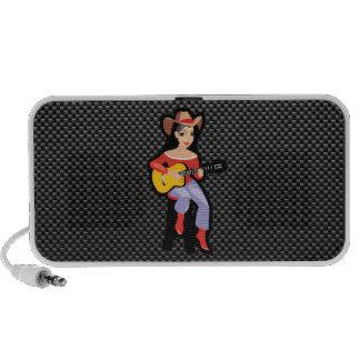 Sleek Cowgirl with Guitar iPhone Speaker