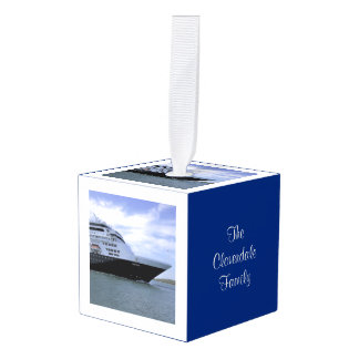 Sleek Cruise Ship Bow Personalized Dated Cube Ornament