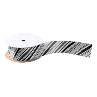 Sleek Diagonal Black, Grey, White Stripes Satin Ribbon