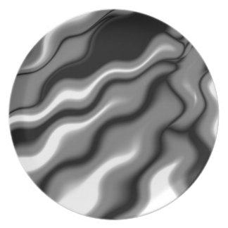 Sleek Elegant Black White Waves Abstract Art Dinner Plate