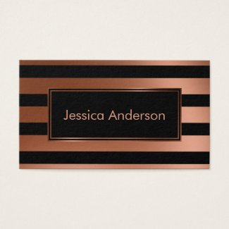 Sleek Faux Copper Foil Metallic and Black Stripes Business Cards