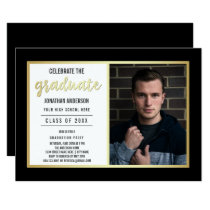 Sleek Gold & Black | Young Man's Graduate Photo Card
