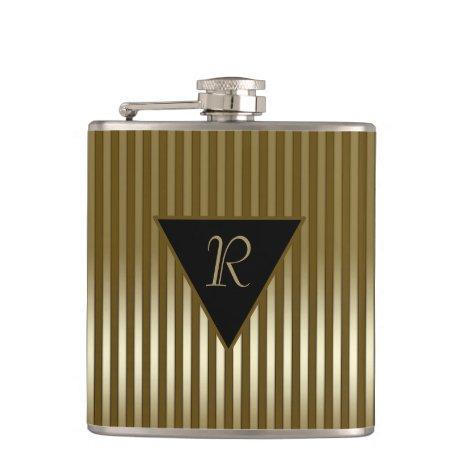 Sleek Gold Stripes Monogrammed Flask