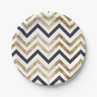 Sleek golden glitter black chevron pattern paper plate
