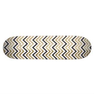 Sleek golden glitter black chevron pattern skateboard