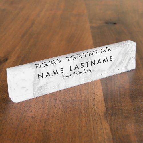 Sleek Grey White Marble Custom Desk Nameplate