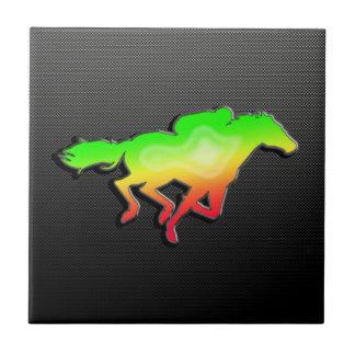 Sleek Horse Racing Ceramic Tile