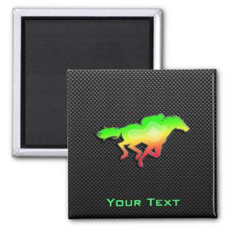 Sleek Horse Racing 2 Inch Square Magnet