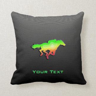 Sleek Horse Racing Throw Pillow