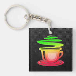 Sleek Hot Coffee Double-Sided Square Acrylic Keychain
