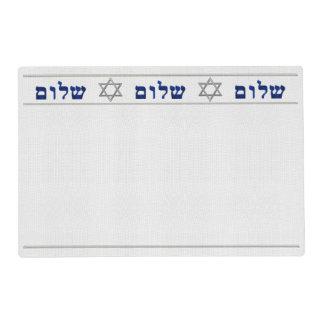 Sleek Judaica Reversible Blue to White Laminated Placemat