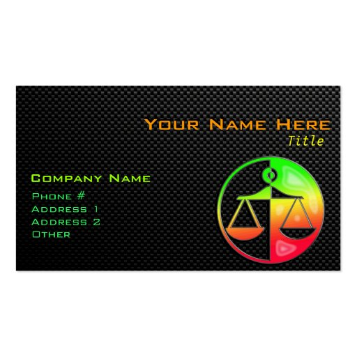 Sleek Justice Scales Business Card
