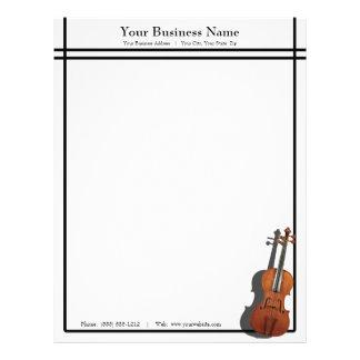Sleek Lines Violin Music Business Letterhead